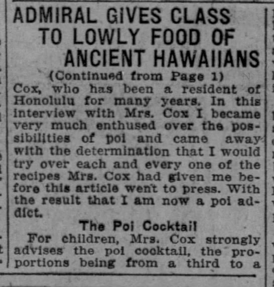 Admiral gives class to lowly food of ancient hawaiians. 13 jun 1925 -