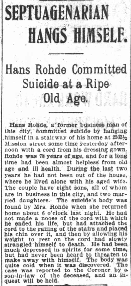 Hans Rohde SuicideSF Chronicle 18991207 -