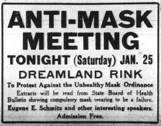 1919 01 25 Anti-Mask league meeting notice -