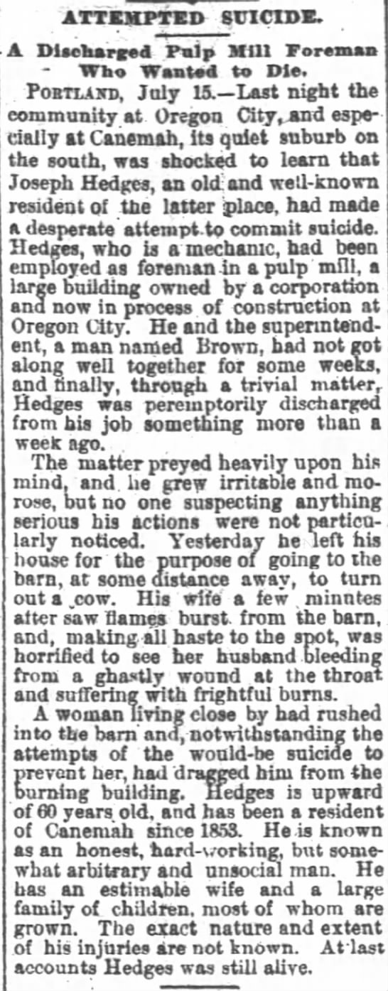 Joseph Hedges attempted suicide 7-16-1889 -
