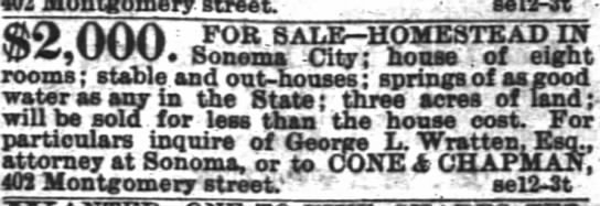 SF Chronicle Sep 12 1868 Sale of home -