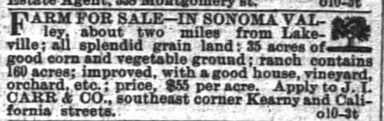 Farm for Sale - 13 October 1868 SF Chronicle -