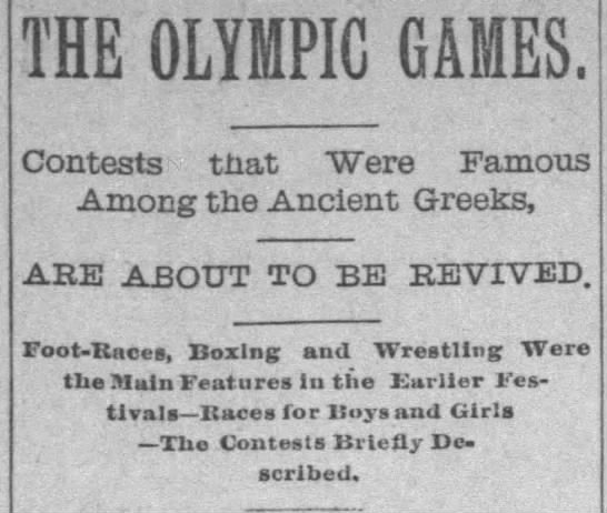The Olympic Games. Are About to be Revived -
