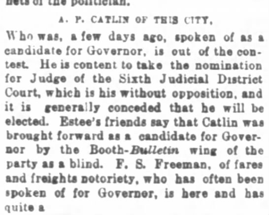 Catlin candidate Governor 6/22/1875 -