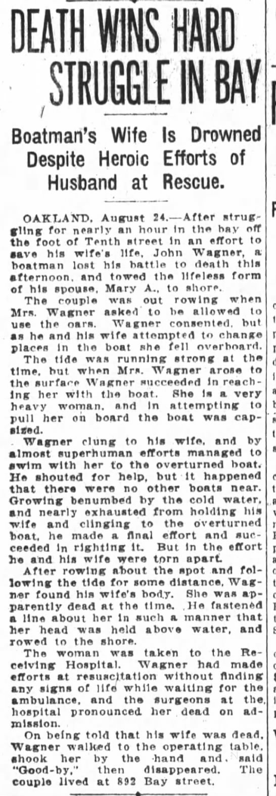 John Wagner, Mary Wagner drowned -