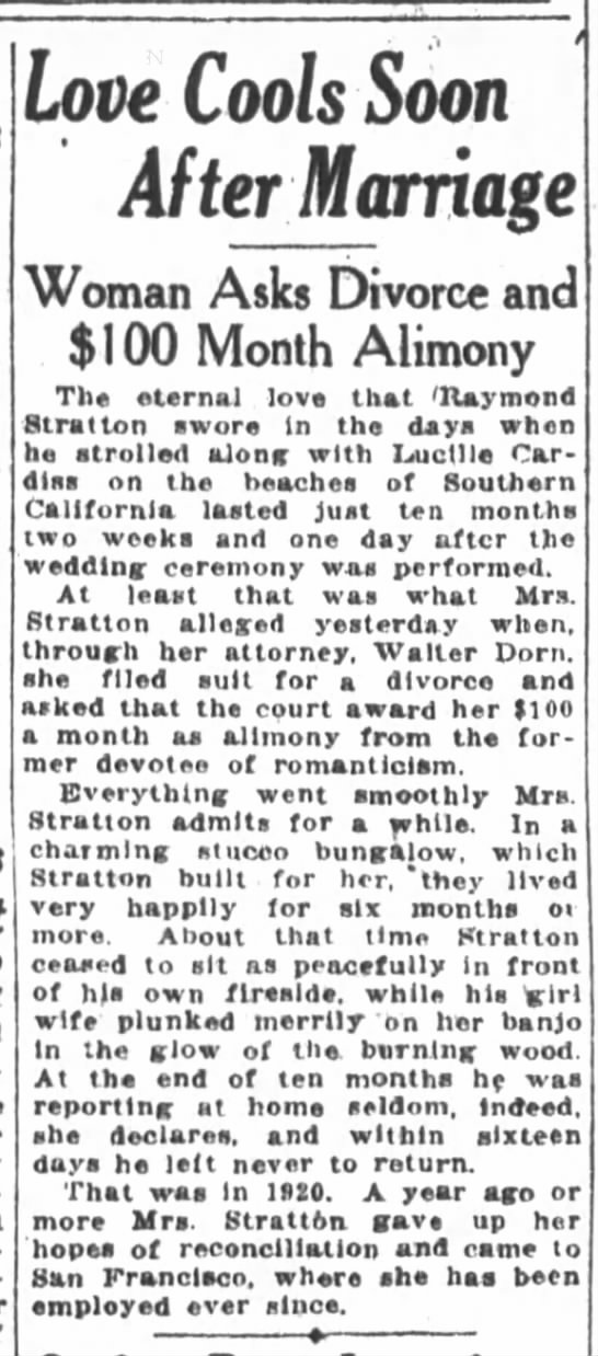 November 11, 1922 Divorce of Raymond Stratton in southern Cali from Lucille Cardiss -