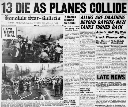 June 8, 1944: Two Army B-25 bombers collide over Kalihi -