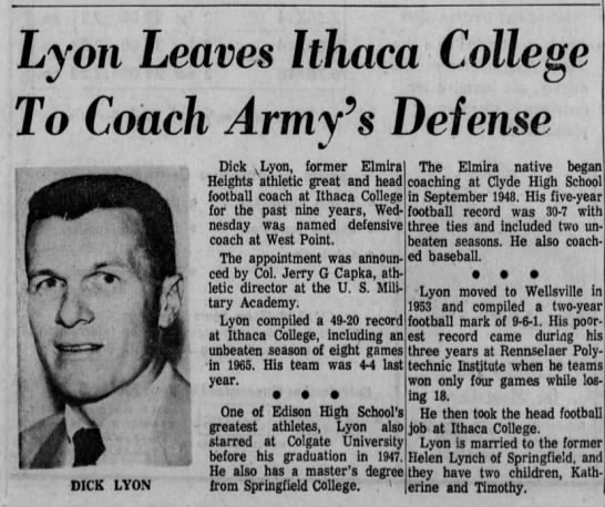 Lyon Leaves Ithaca College To Coach Army's Defense -