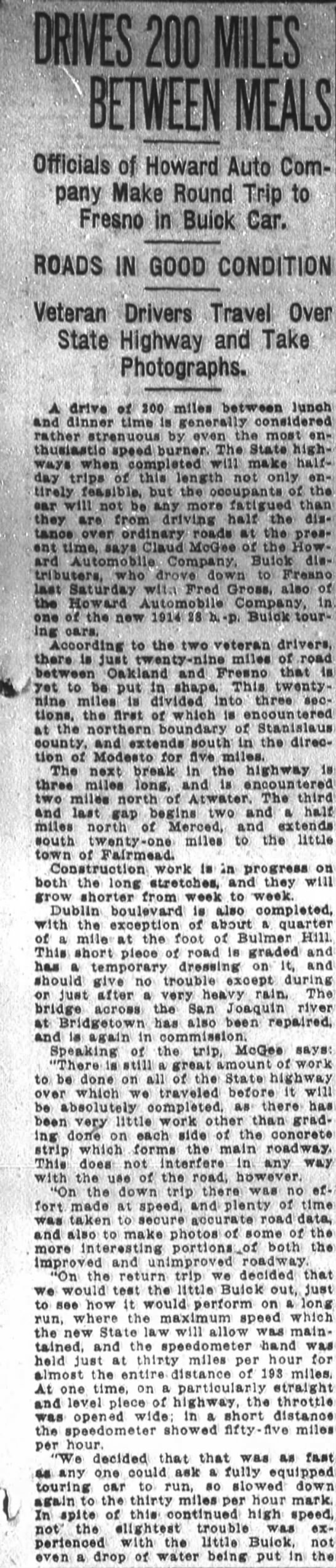 Road conditions, 1913 -