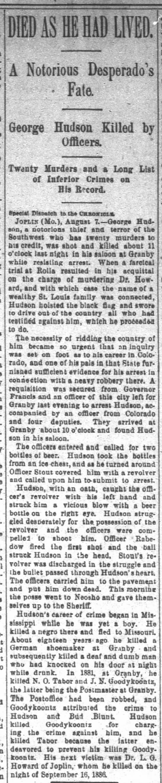 San Francisco Chronicle, San Francisco, CA, 8 Aug 1892,  - I D1ASIIBLM1 A Notorious Desperado Fate George...