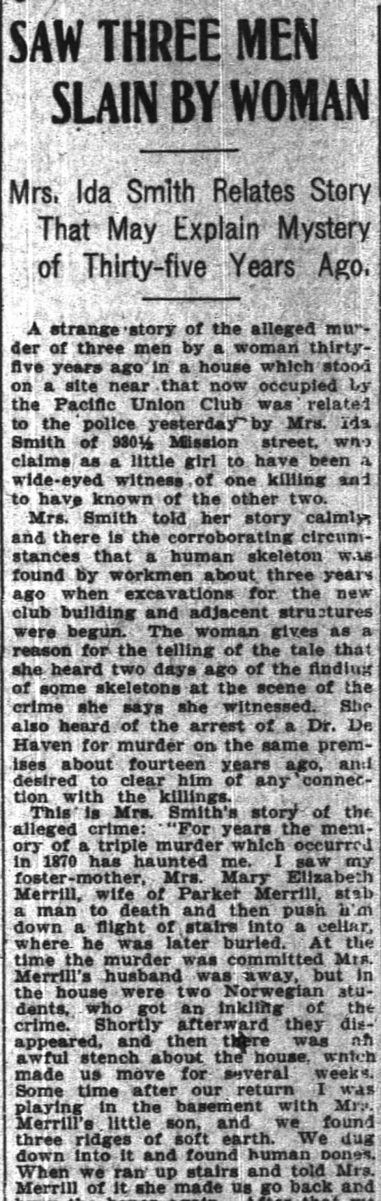 Murders committed by Mary Elizabeth Merrill (Mrs. Parker Merrill) in 1870 - SAW THREE MEN - tSLAIN BY WOMAN v T Mrs...