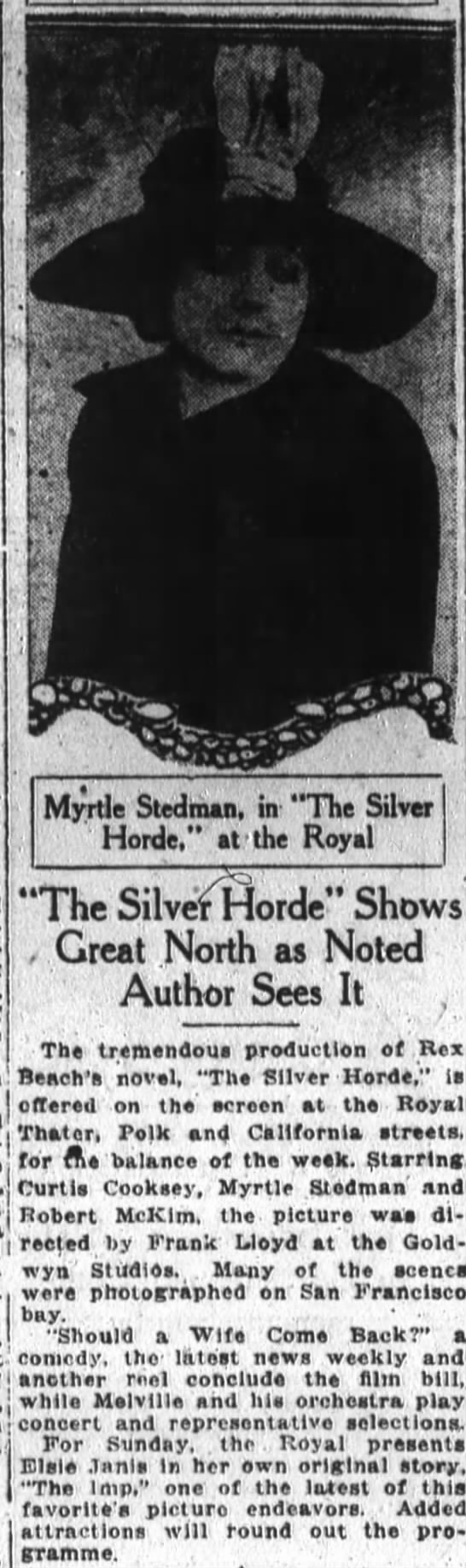 Myrtle Stedman photo and article San Francisco Chronicle  CA 8 Jul 1920 -