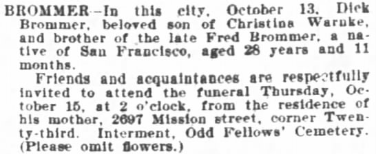 Dick Brommer obituary