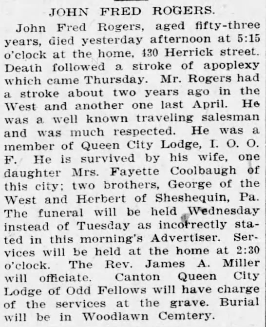 Obituary Of John Fred Rogers Died On 8 March 1908 Elmira Ny Newspapers Com