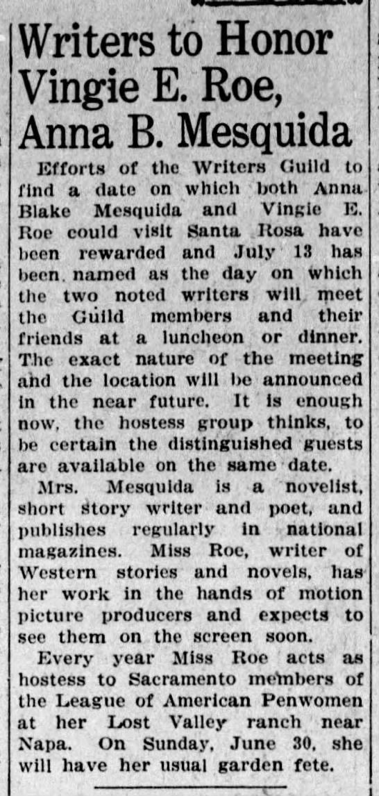Vingie Roe and Anna Mesquida honored (1935) -