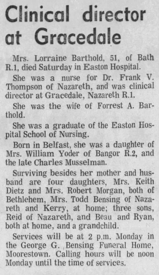 "Lorraine (Musselman) Barthold's Obituary. ""The Morning Call"" Sun. 03 Nov. 1974 -"