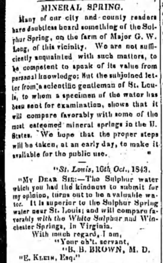 Alton Telegraph  4 Nov 1843 Mineral Springs? -