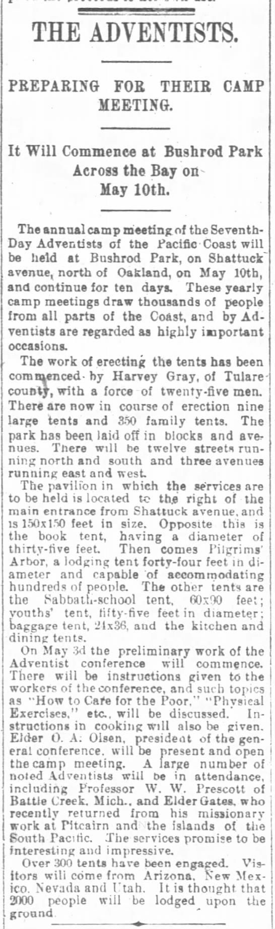 Camp meeting preparations, Oakland, CA, 1894 -