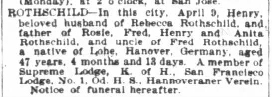 Henry Rothschild husband of Rebecca obituary 10 April 1899 -