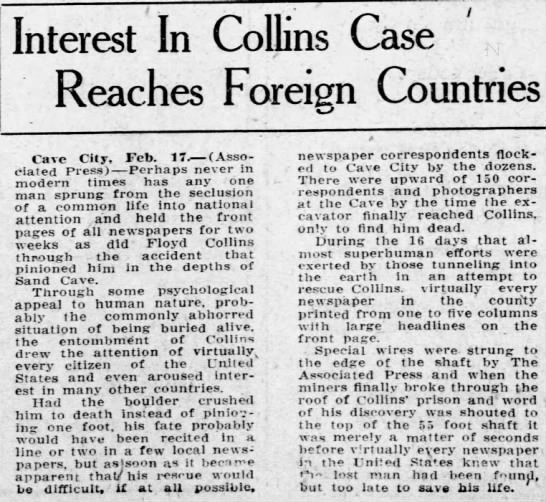 Wide-spread interest in Collins' story -
