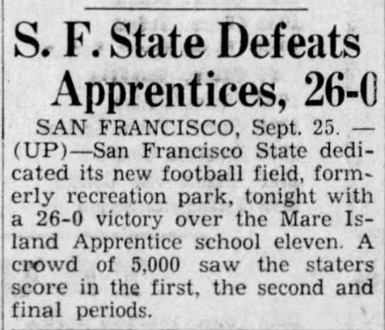 SF State Defeats Apprentices -