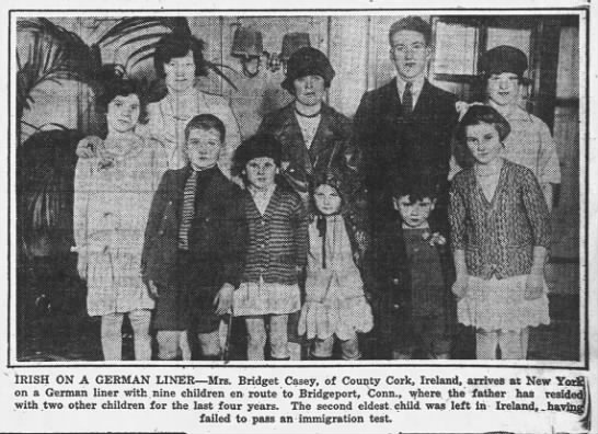 Irish immigrant family upon arrival in U.S. in 1929 -