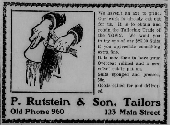 Oct 1906 ad for P  Rutstein & Son, tailors, Pine Bluff
