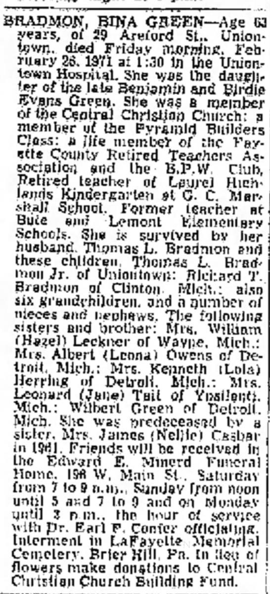 bina green bradmon obit page 17 the evening standard february 26 1971 -