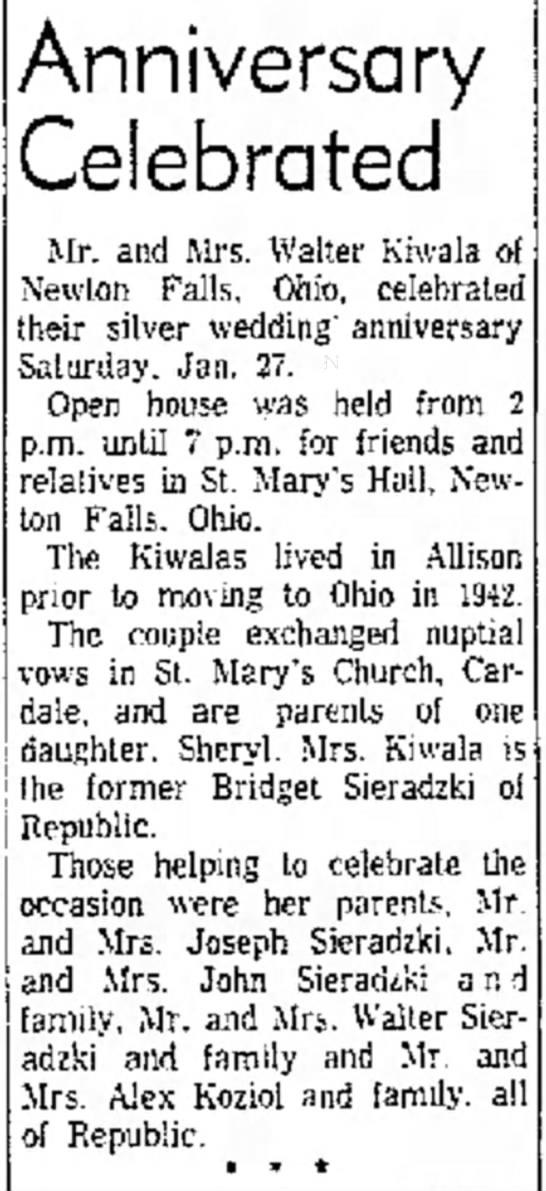 50th Anniversary: Mr. and Mrs. Walter Kiwala, former Bridget Sieradzki -