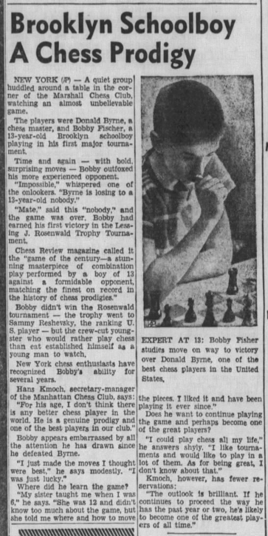 Brooklyn Schoolboy A Chess Prodigy - Brooklyn Schoolboy A Chess Prodigy NEW YORK m A...