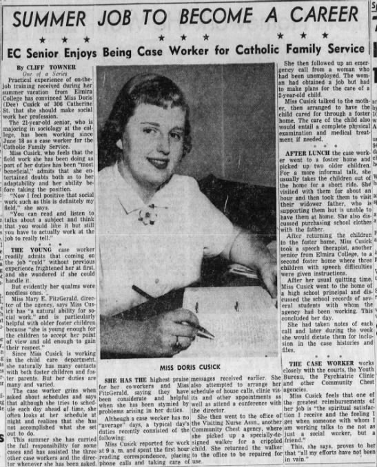 Dee Cusick from the Elmira Advertiser 8/20/1956 -