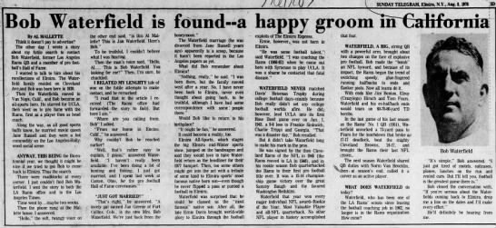 Bob Waterfield is found -- a happy groom in California -