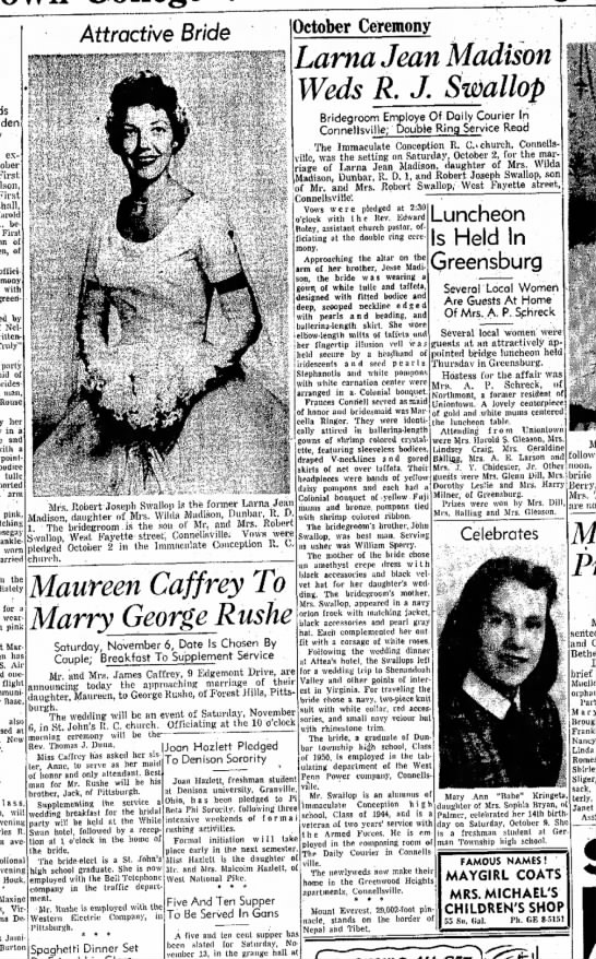 evening standard 11/1/54 - larna jean madison weds rj swallop - good picture - -