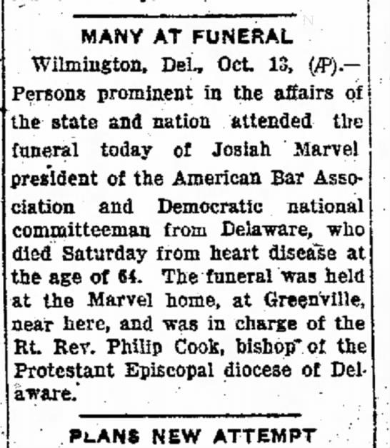 Funeral for Josiah Marvel - october 14 1930 -