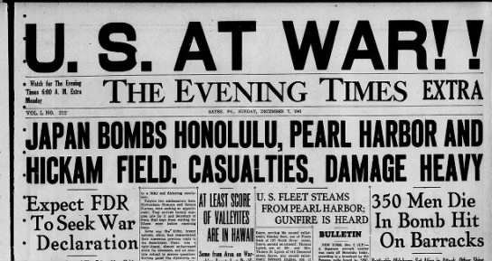 Attack on Pearl Harbor - n Evening Times i Watch for The Evening Times...