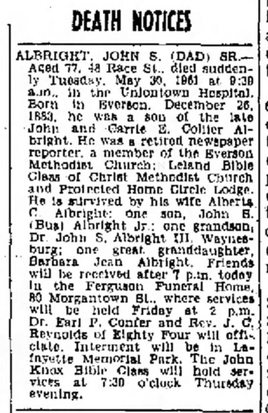 John S Albright death notice - 31 May 1961, Evening Standard, Uniontown, PA -