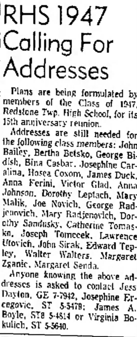 RHS 1947 searching for Bina Casbar page 18 the evening standard june 7 1962 - c h i g a n RHS1947 Calling For Addresses Plans...