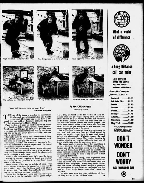 Doth Music Soothe the Savage Beast Pg 2 - Oakland Tribune March 27, 1955 -