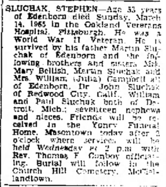 Sluchak Stephen Obituary