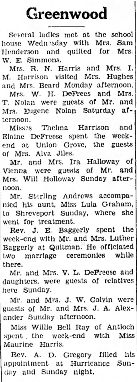 Greenwood News - Ruston Daily Leader - 20 Mar 1935 - Sterling Andrews and Lula Graham -