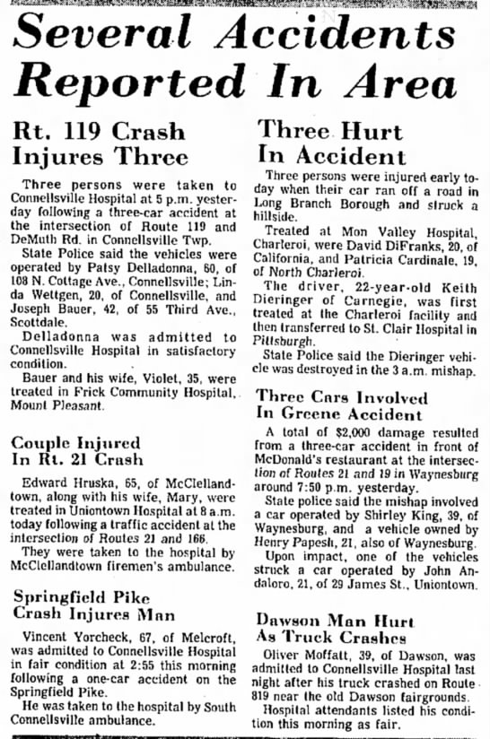 linda wettgen 20 involved in auto accident page 15 the evening standard september 23 1977 page 15 -
