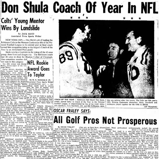 Don Shula Coach Of Year In NFL -