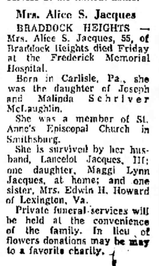 JacquesAlice obitDaily Mail 30 Jun 1973 -