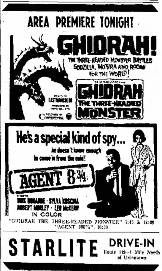 Evening Standard Uniontown Penn 5/18/66 Ghidrah - and for be a I AREA PREMIERE TONIGHT GHIDRAHS...
