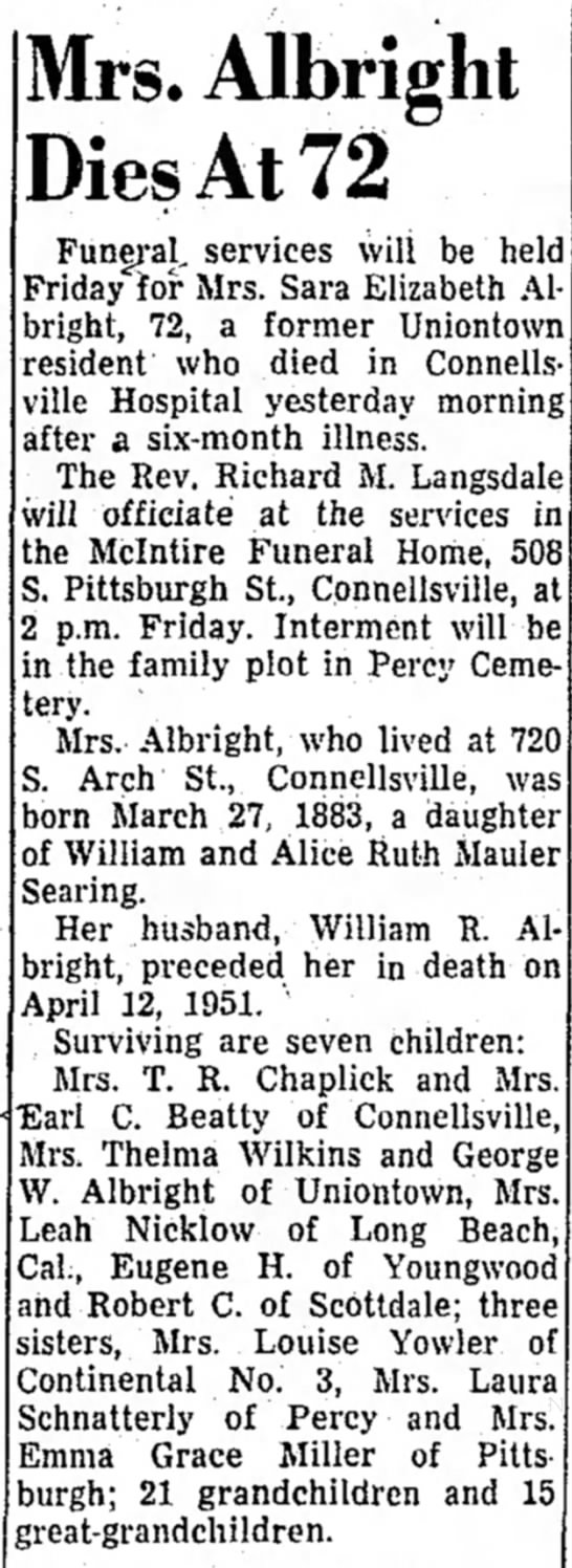 Sara Searing Albright obituary - 19 May 1955, Evening Standard, Uniontown, PA - mower mower the Mrs. Albright Dies At 72...