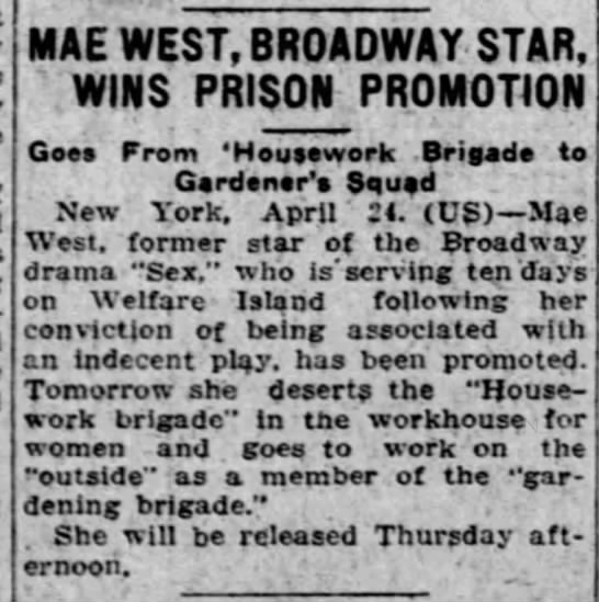 25/04/1927  THE MORNING CALL // ALLENTOWN PENNSYLVANIA // THE PRISON PROMOTION -