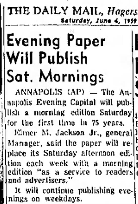 Evening paper will publish Sat. mornings -