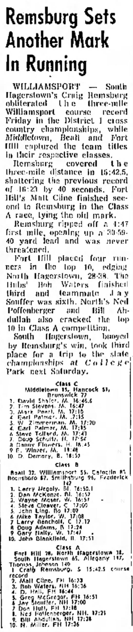 North finishes 2nd in 1973 district, Daily Mail, Nov 3, 1973 -