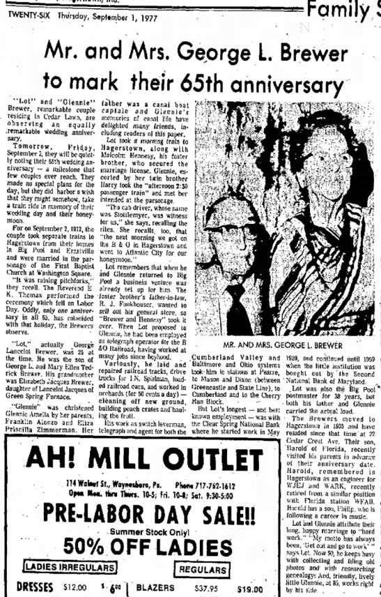 Geo L Brewer 65 Anniversary