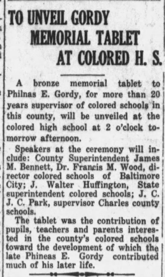 - TO UNVEIL GORDY MEMORIAL TABLET AT COLORED H....